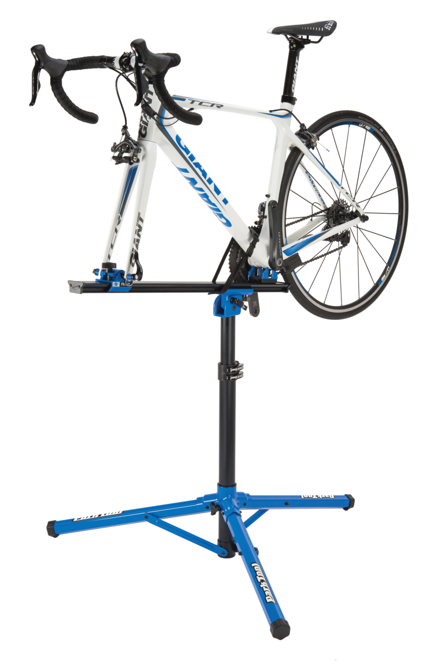 Park Tool PRS-22 Team Issue Repair Stand with bike mounted, enlarged