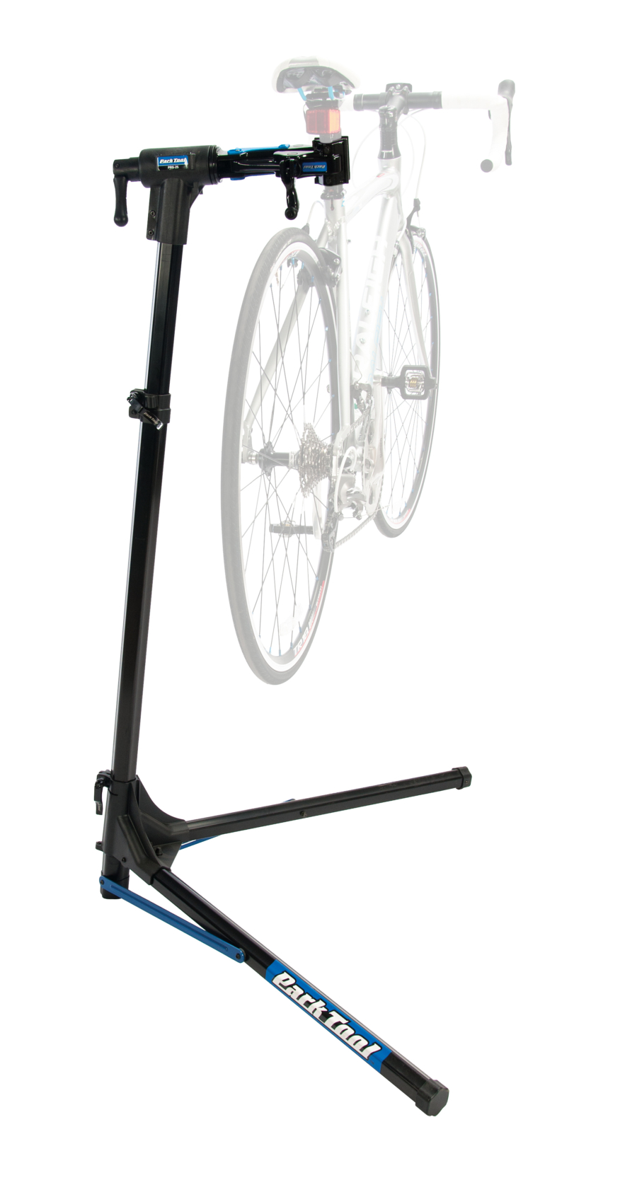 The Park Tool PRS-25 Team Issue Repair Stand with bike mounted, enlarged