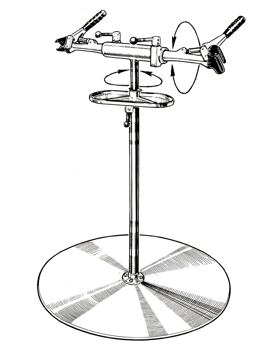 Line drawing of Deluxe Double Arm Repair Stand, enlarged
