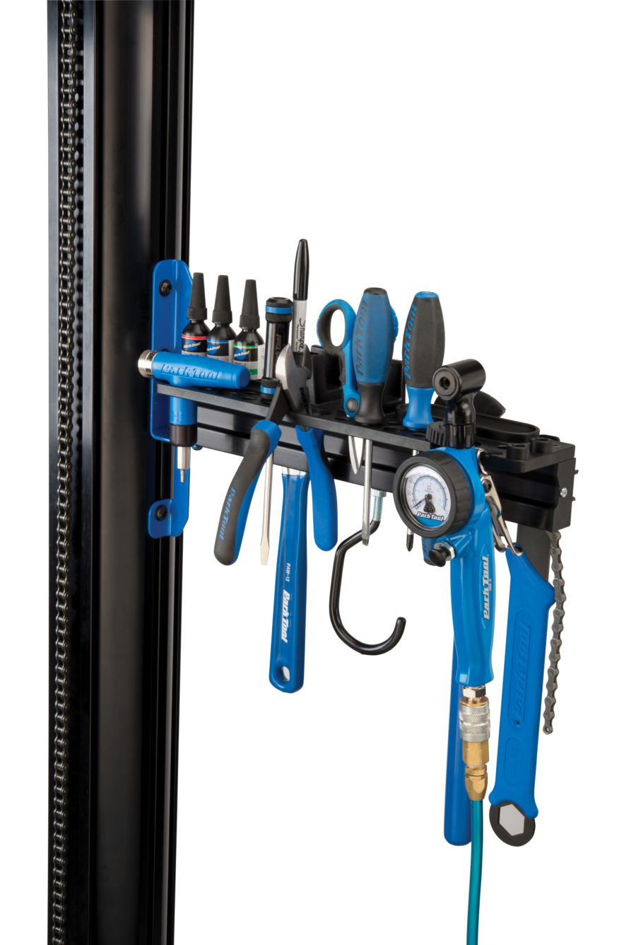 The Park Tool PRS-33TT Deluxe Tool and Work Tray full of tools attached to repair stand, enlarged
