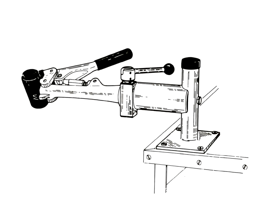 Line drawing of PRS-4 Bench Mount Repair Stand, enlarged