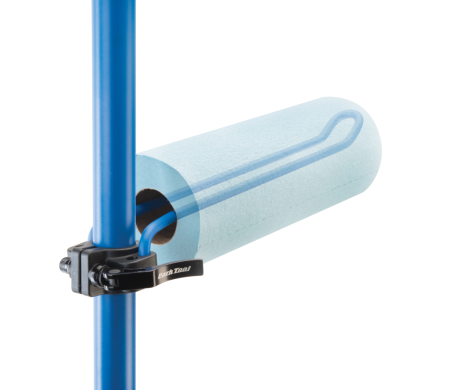 Roll of paper towels on the Paper Towel Holder attached to a Park Tool Repair Stand using an accessory collar, enlarged