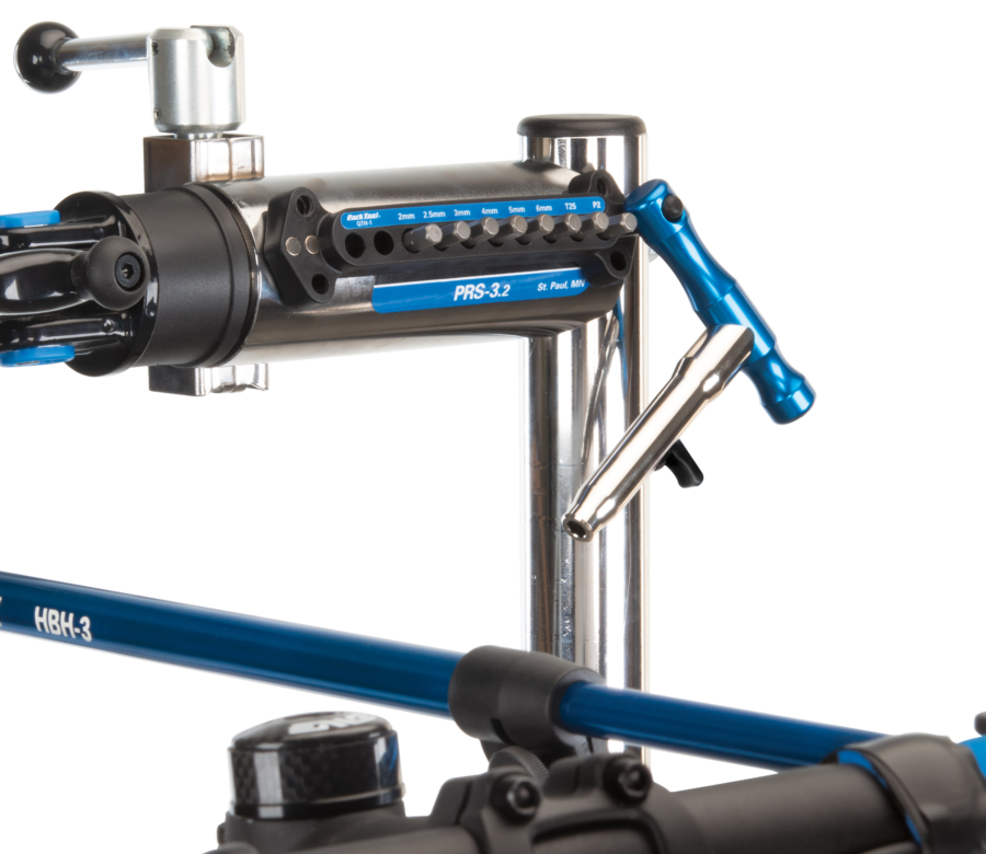 The Park Tool QTH-1 Quick Change Bit Driver Set mounted to a Park Tool shop repair stand, enlarged