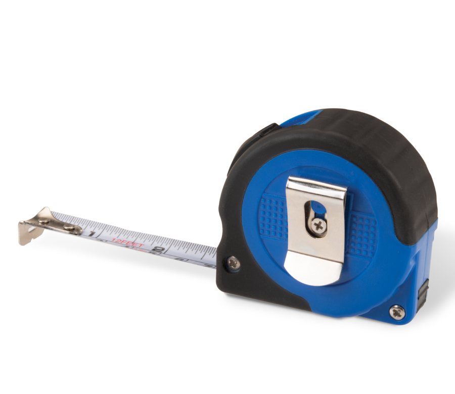 Backside of Park Tool RR-12 Tape Measure with integrated belt clip and tape extended, enlarged
