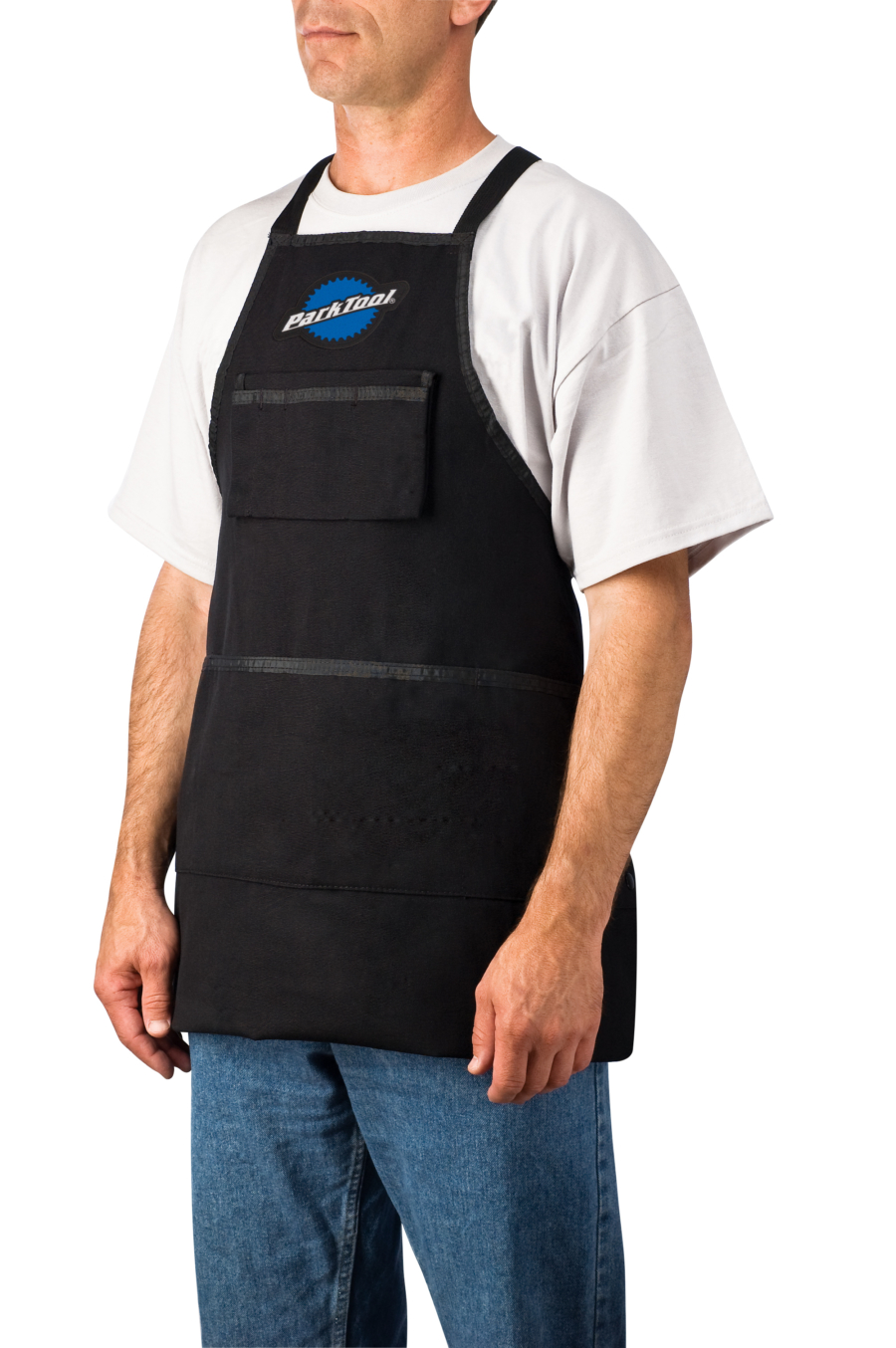 Model wearing the Park Tool SA-3, Heavy Duty Shop Apron, enlarged