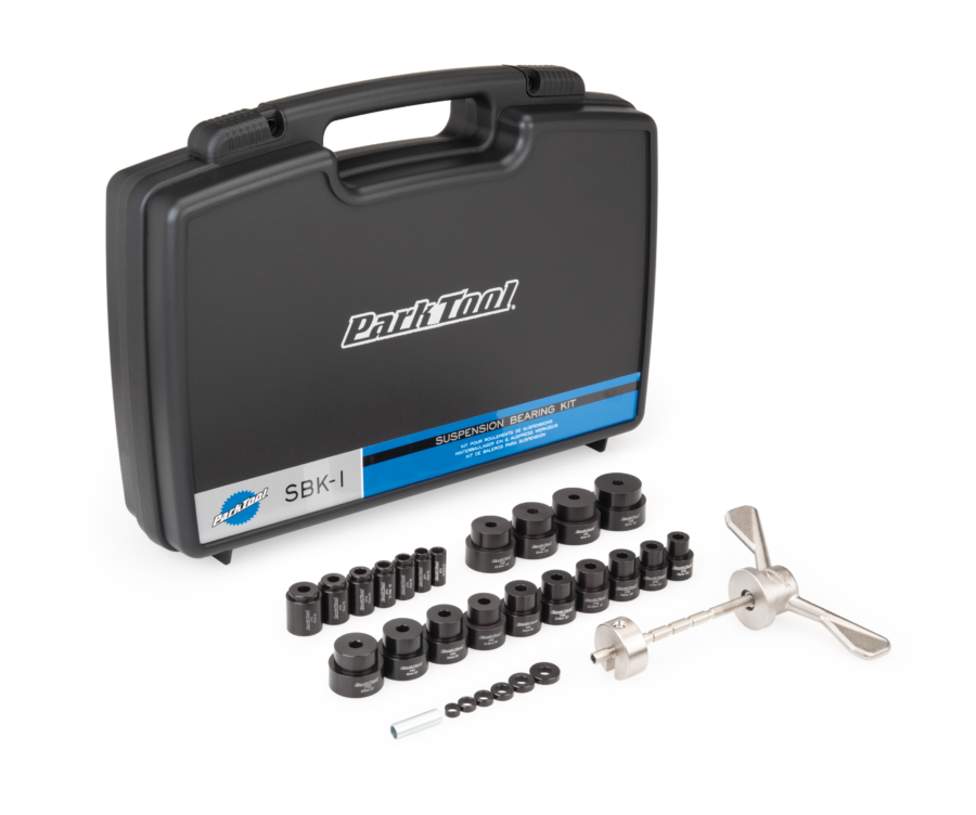 The Park Tool SBK-1 Suspension Bearing Kit shown with included storage case, enlarged