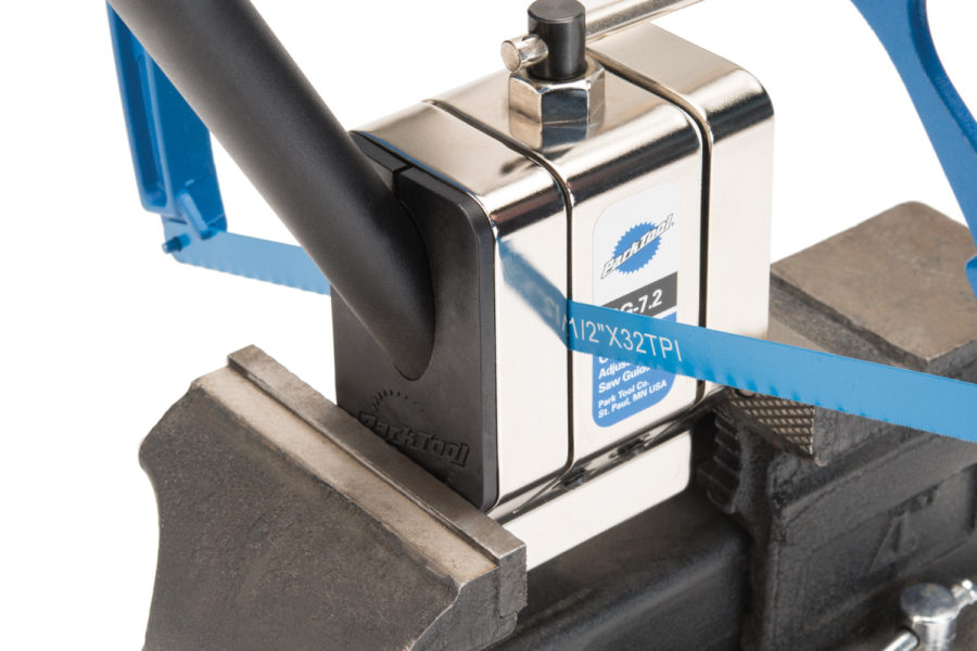 The Park Tool SGI-7 Saw Guide Insert in use with an SG-7.2, enlarged