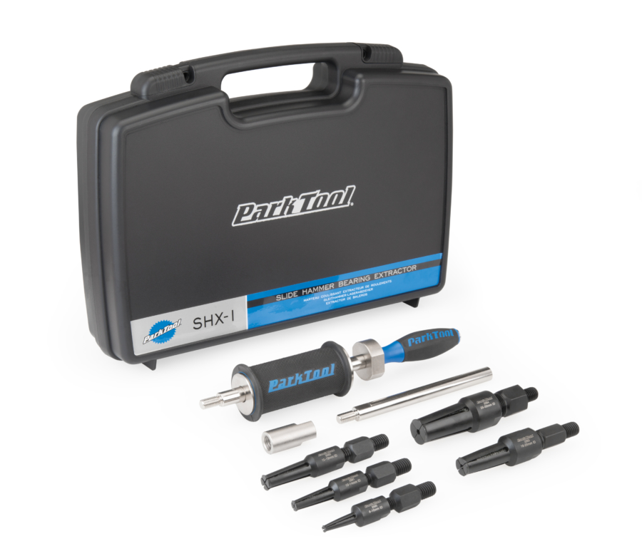 The Park Tool SHX-1 Slide Hammer Extractor shown with included storage case, enlarged