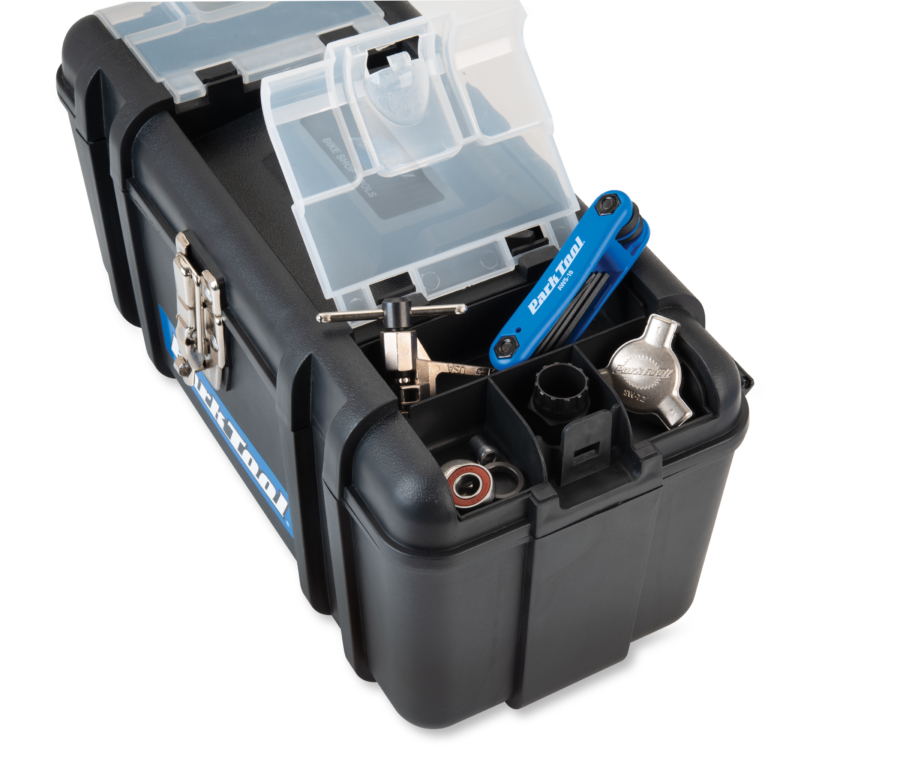 Close-up of Park Tool SK-4 Home Mechanic Starter Kit toolbox storage compartment, enlarged