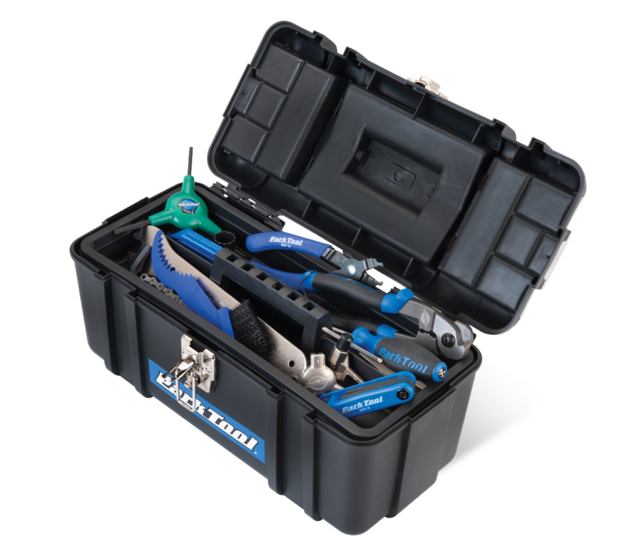 Open Park Tool SK-4 Home Mechanic Starter Kit toolbox with tools and tray inside, enlarged