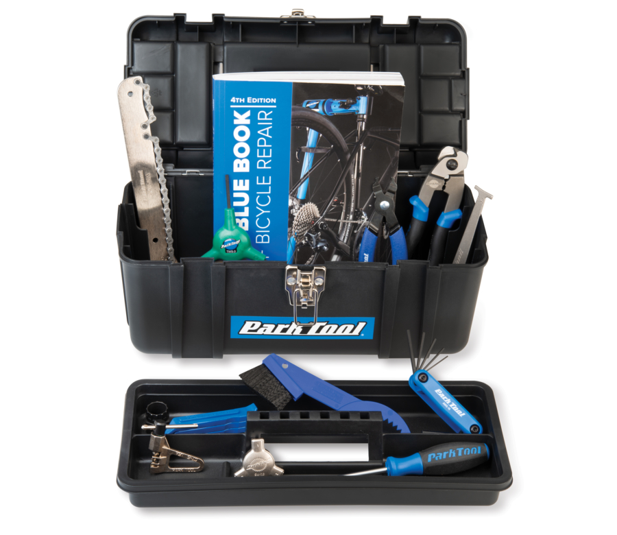 Open Park Tool SK-4 Home Mechanic Starter Kit toolbox with tools inside and tray removed, enlarged