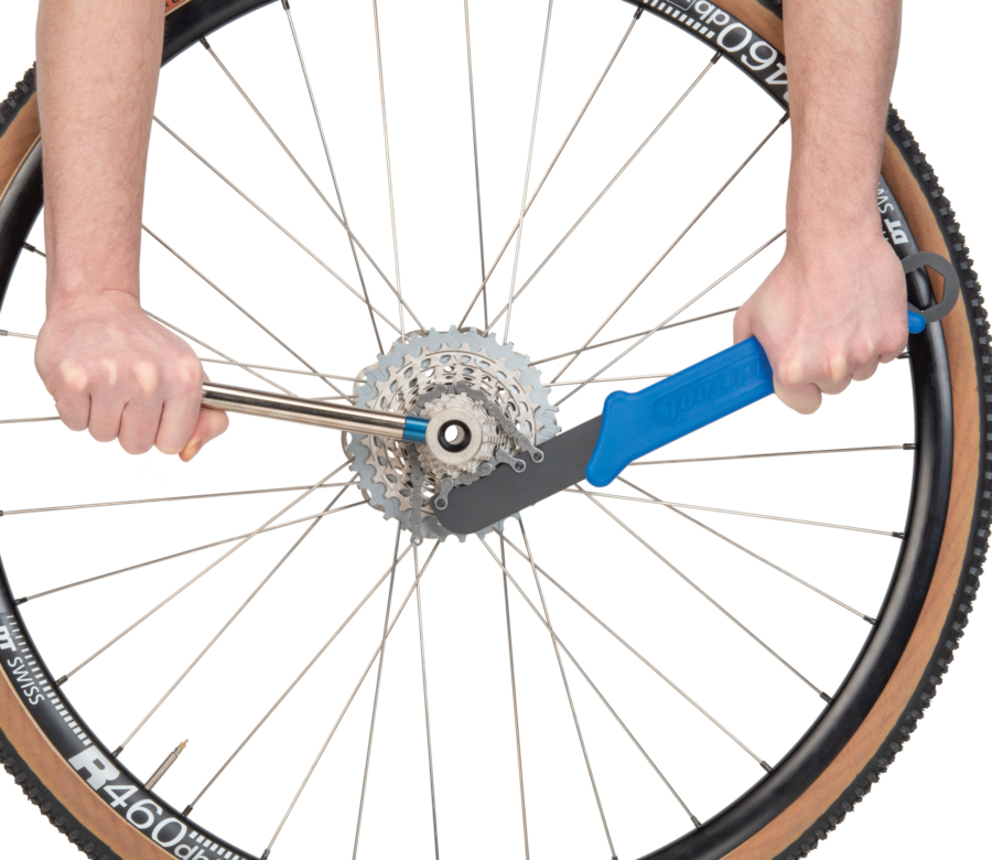 Park Tool SR-12.2 Sprocket Remover / Chain Whip used with the FR-5.2 to remove 12 speed SRAM cassett, enlarged