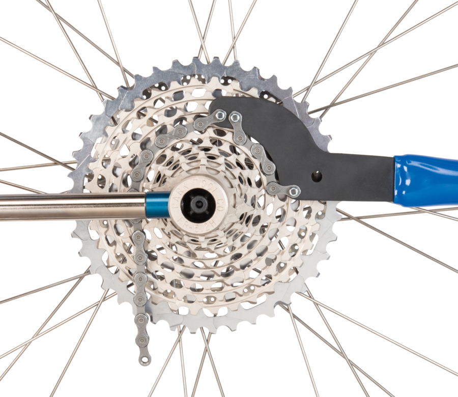 Close-up of Park Tool SR-2.3 Sprocket Remover / Chain Whip removing sprocket, enlarged