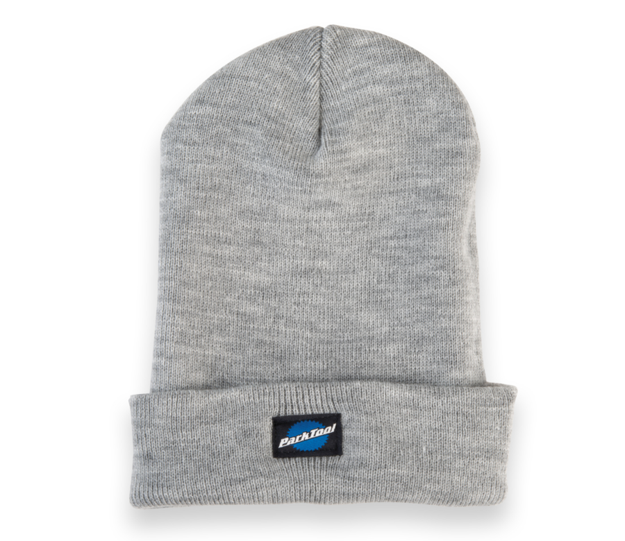 Park Tool STK-1 heather gray beanie hat with small stacked Park Tool logo on bottom, with hem folded up, enlarged