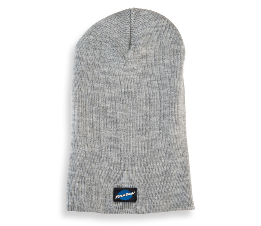Park Tool STK-1 heather gray beanie hat with small stacked Park Tool logo on bottom, with hem folded down, enlarged
