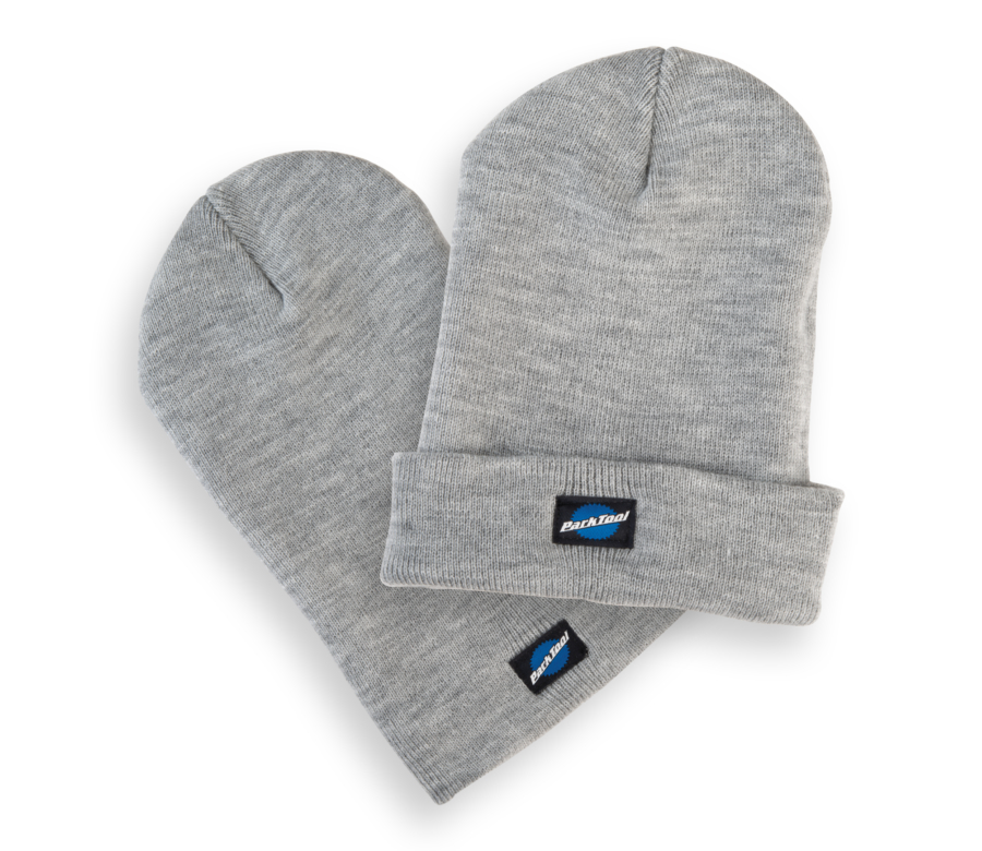 Park Tool STK-1 heather gray beanie hat with small stacked Park Tool logo on bottom, enlarged