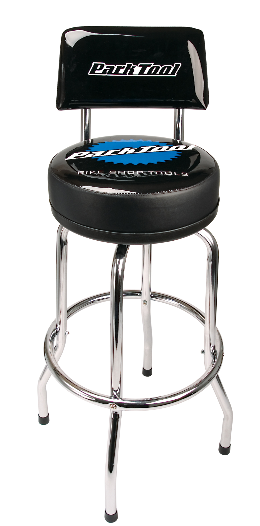 The Park Tool STL-1.2 Shop Stool with STL-3 Shop Stool Backrest Kit attached, enlarged