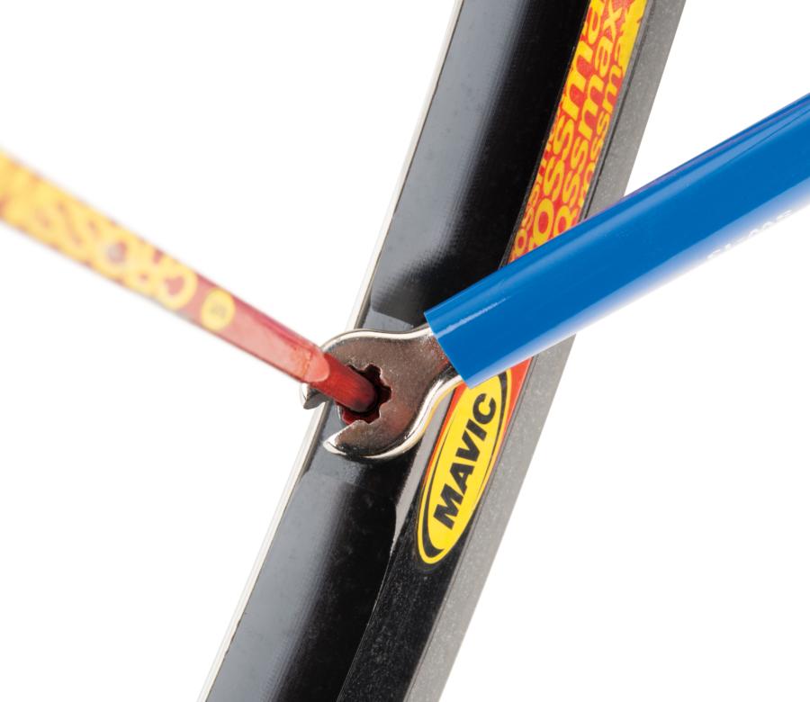 The Park Tool SW-13 Double-Ended Spoke Wrench — Mavic® 6-Spline engaged on 6-spline 5.5mm Mavic® spoke nipple, enlarged