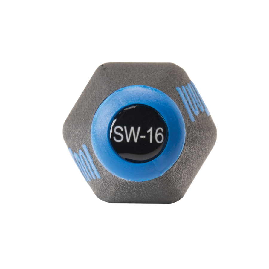 End of Park Tool SW-16 Internal Nipple Spoke Wrench with labeled model number, enlarged