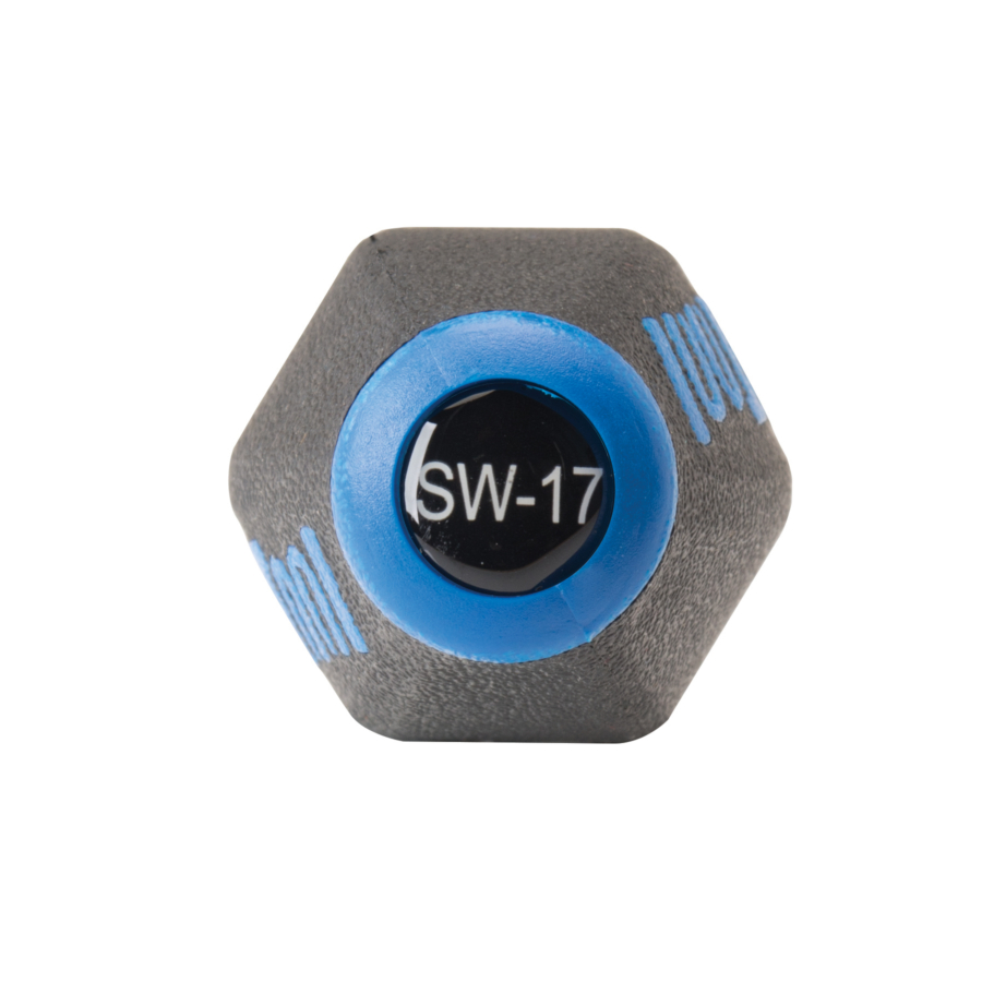 End of Park Tool SW-17 Internal Nipple Spoke Wrench with labeled model number, enlarged
