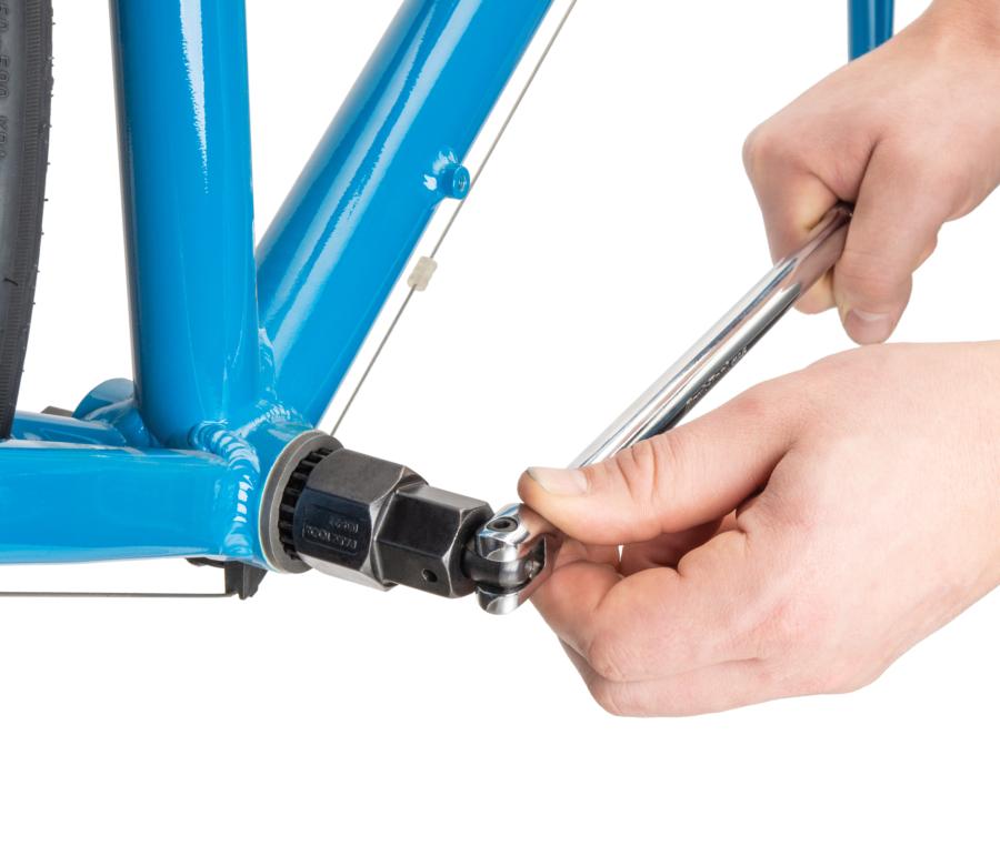 """Park Tool SWB-15 3/8"""" Drive Breaker Bar installed in bottom bracket removing bottom bracket, enlarged"""