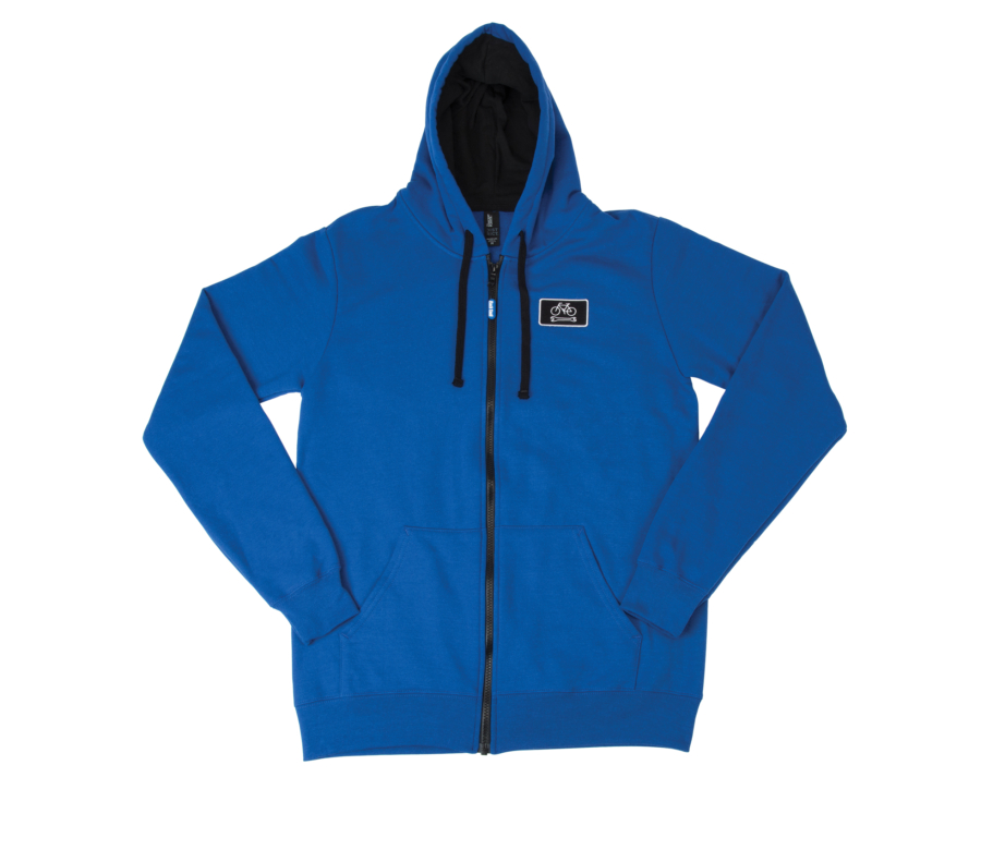 Front of blue Park Tool SWH-2 zip-up hoodie, enlarged