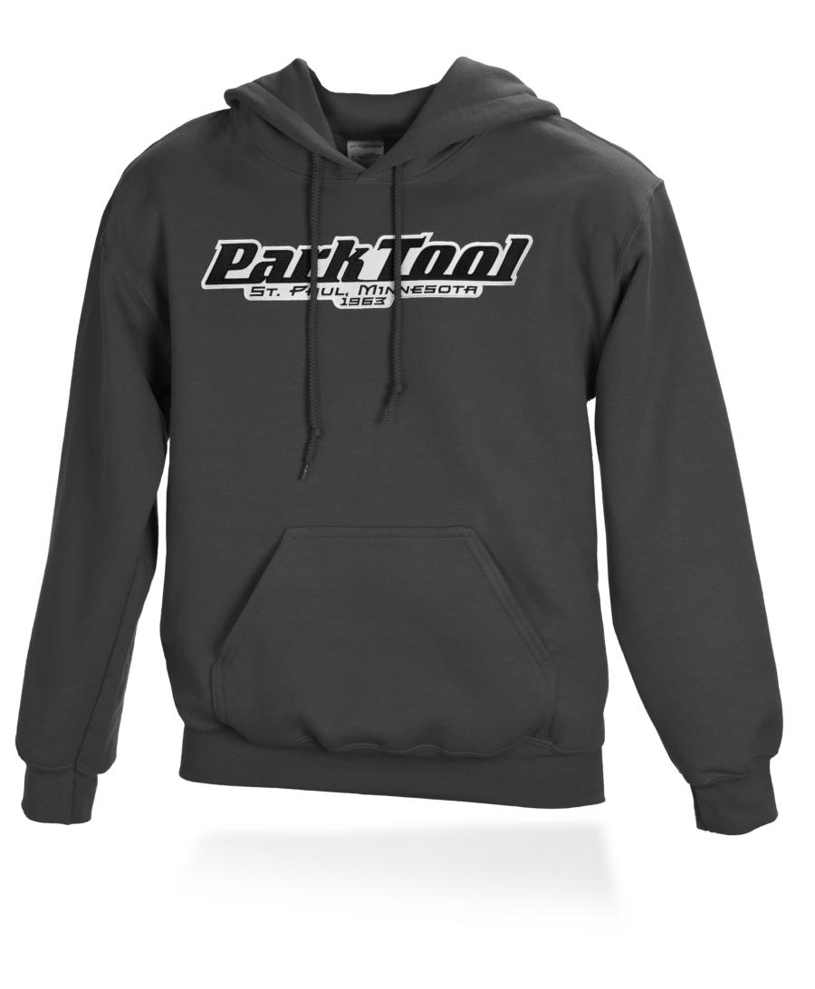 Front of black horizontal Park Tool logo hoodie, enlarged