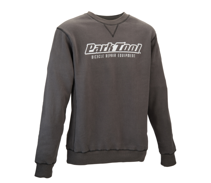 Front of the gray Park Tool Crewneck Sweatshirt, enlarged