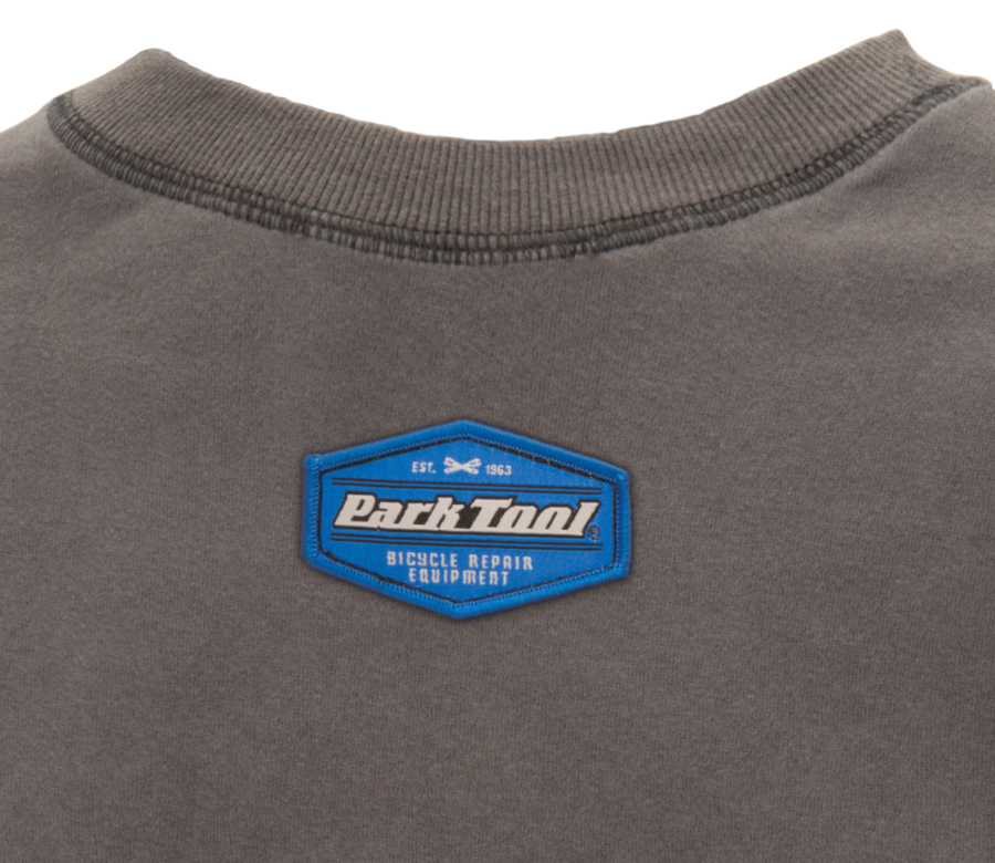 Back of the Park Tool Crewneck Sweatshirt with small emblem by neck, enlarged