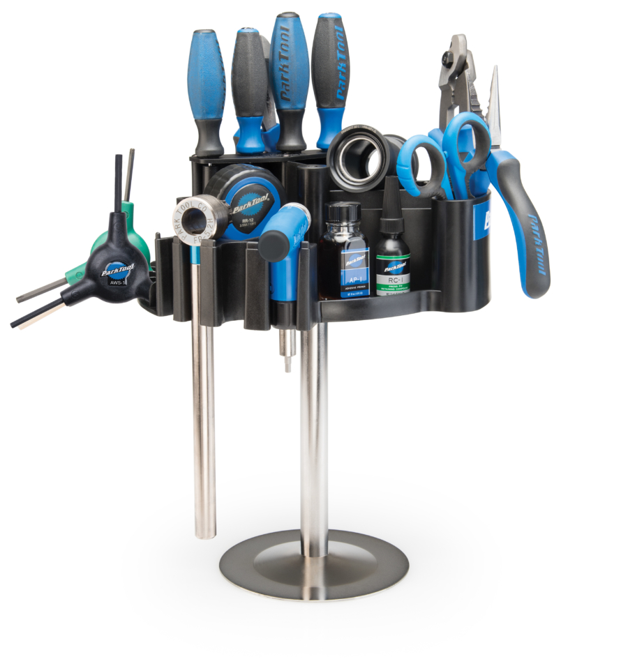 The Park Tool TK-4T Tool Kaddie with Bench Mount filled with tools, enlarged