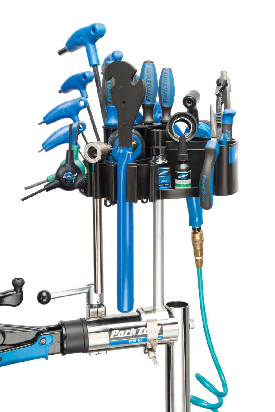 The Park Tool TH-4 Tool Kaddie with Stand Mount mounted on stand filled with tools, enlarged