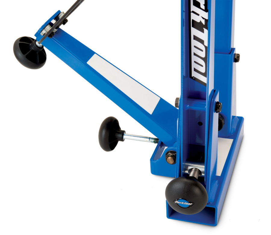 Side view of TS-2.2P Powder Coated Professional Wheel Truing Stand showing upright adjustment knob, enlarged