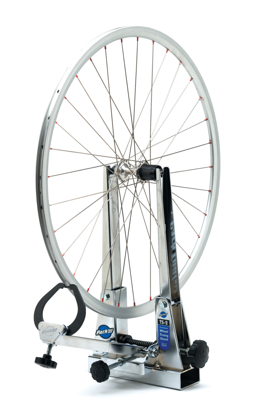 Bike wheel in the Park Tool TS-2 Professional Wheel Truing Stand, enlarged
