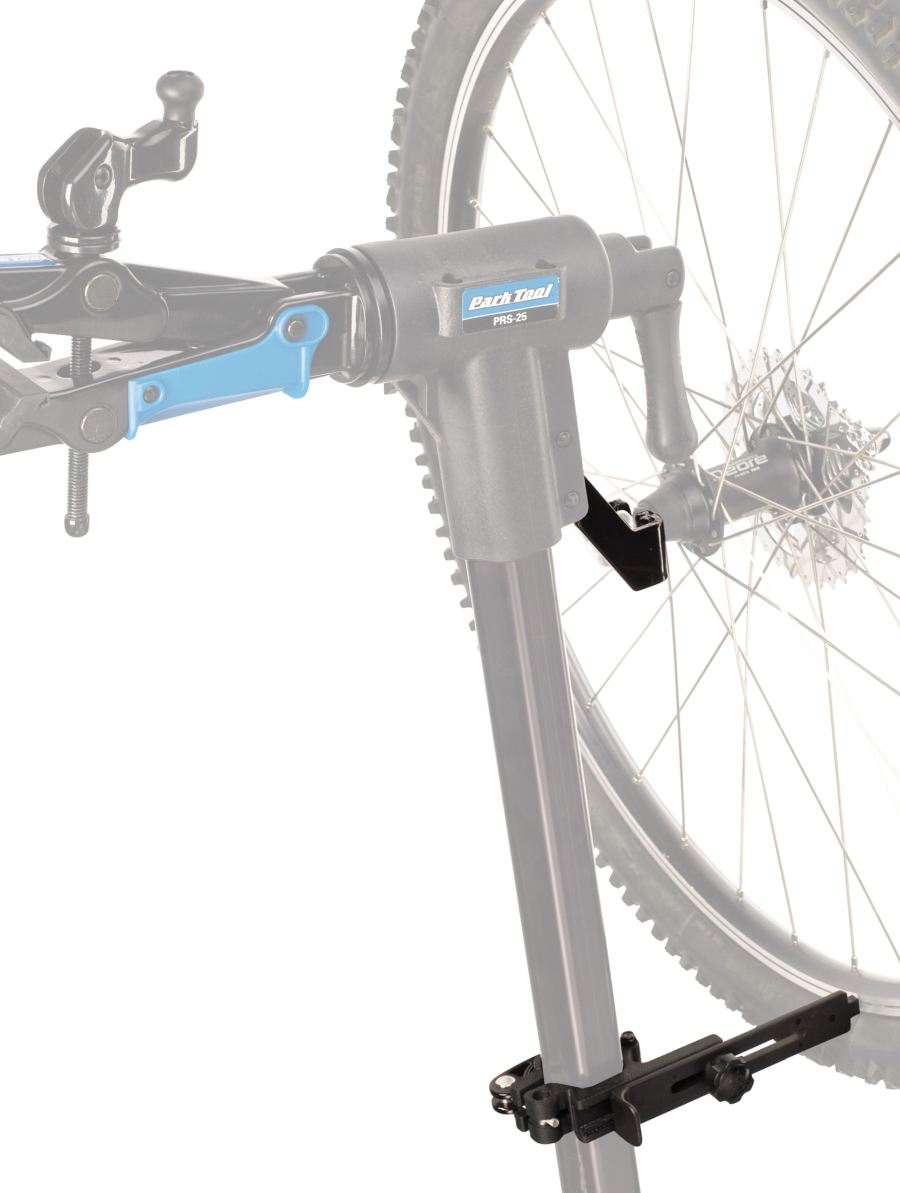Example of the Park Tool TS-25 Repair Stand Mounted Wheel Truing Stand fitting on a stand, enlarged