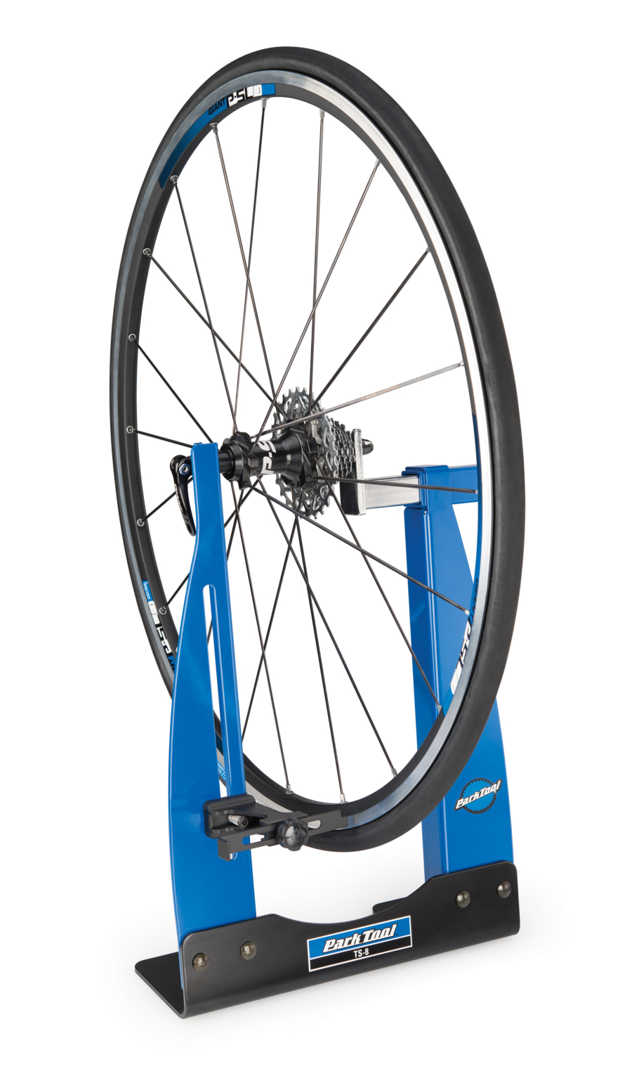 The Park Tool TS-8 Home Mechanic Wheel Truing Stand holding bike wheel, enlarged
