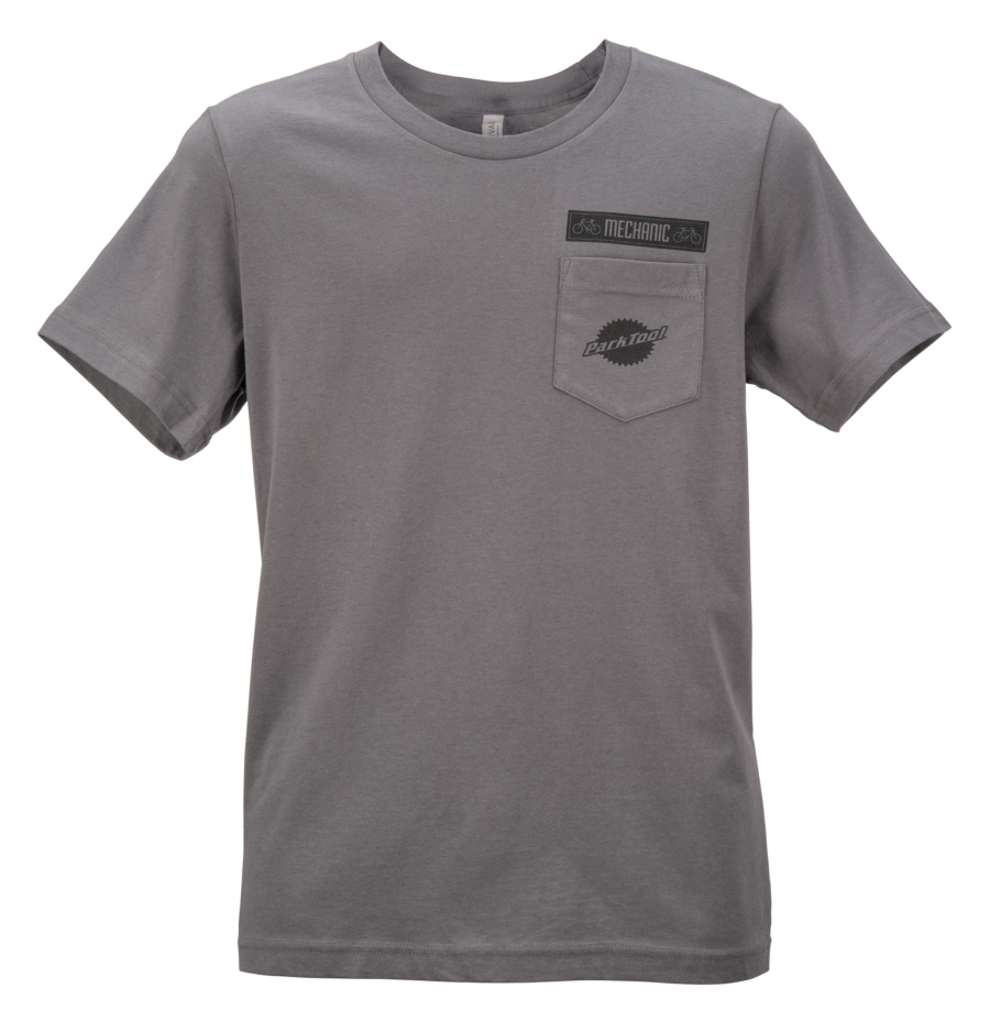 Gray Park Tool tshirt with logo chest pocket, enlarged