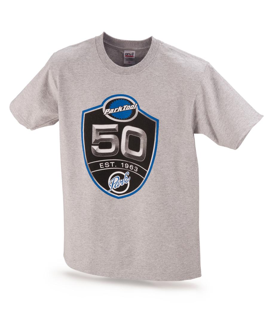 Light gray Park Tool 50th anniversary tshirt, enlarged