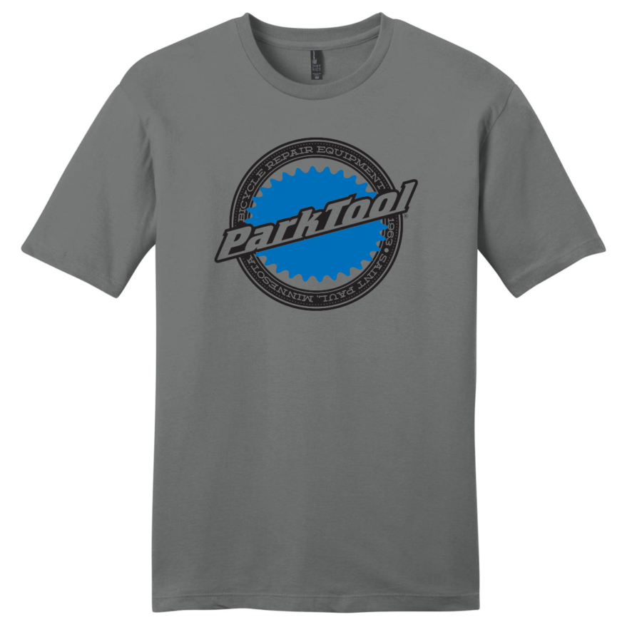 Front of gray Park Tool Logo shirt, enlarged
