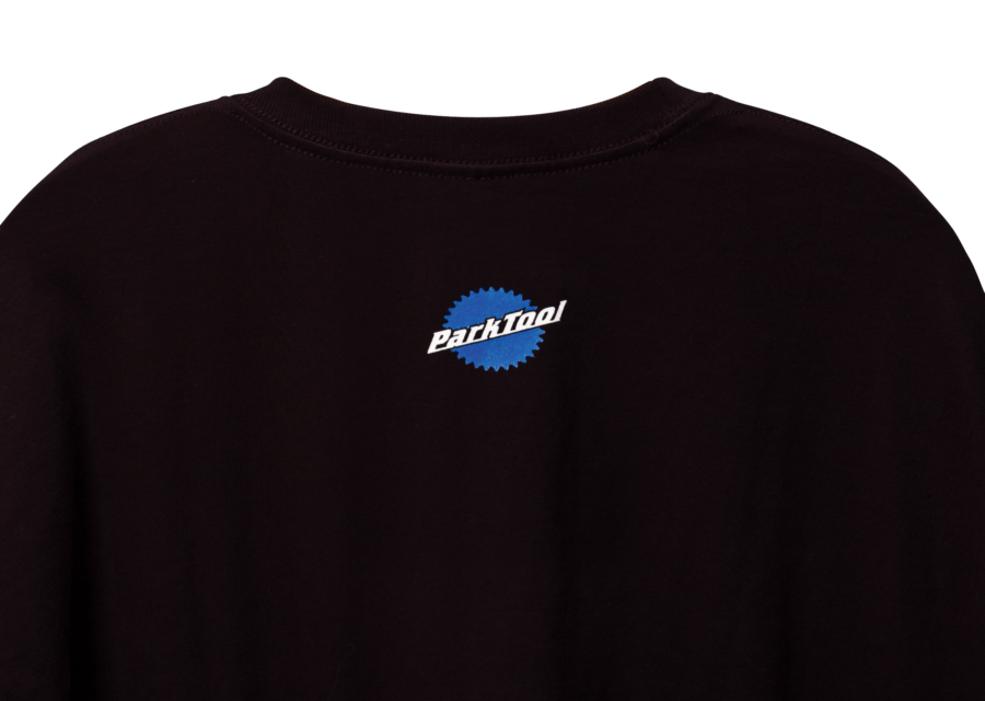 Back of black Park Tool t-shirt with small logo by neck, enlarged