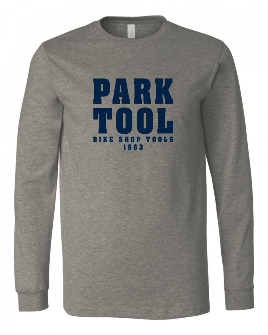 "Heather gray long sleeve shirt with ""Park Tool"" on the front in blocky navy blue letters, enlarged"