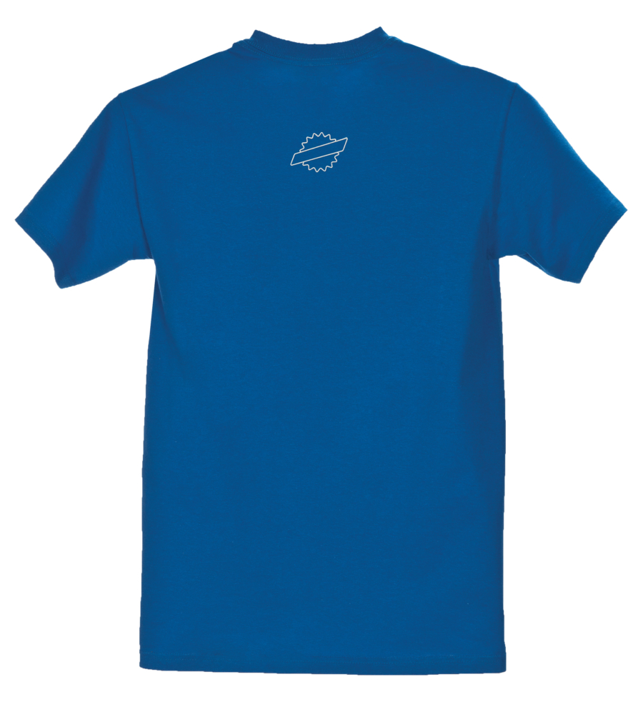 Front of blue Park Tool logo t-shirt with small logo at neck, enlarged
