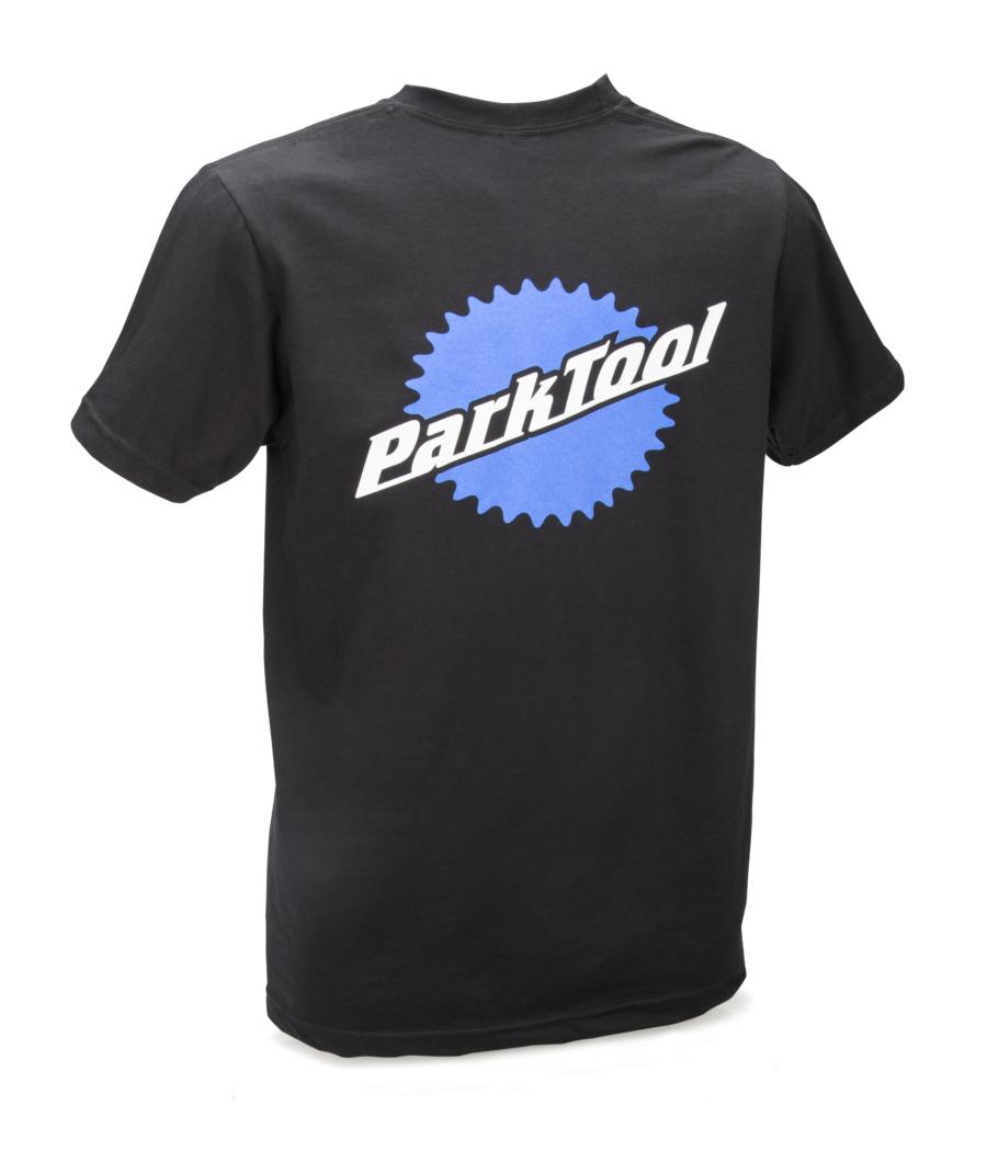 Back of black Park Tool t-shirt with large logo, enlarged