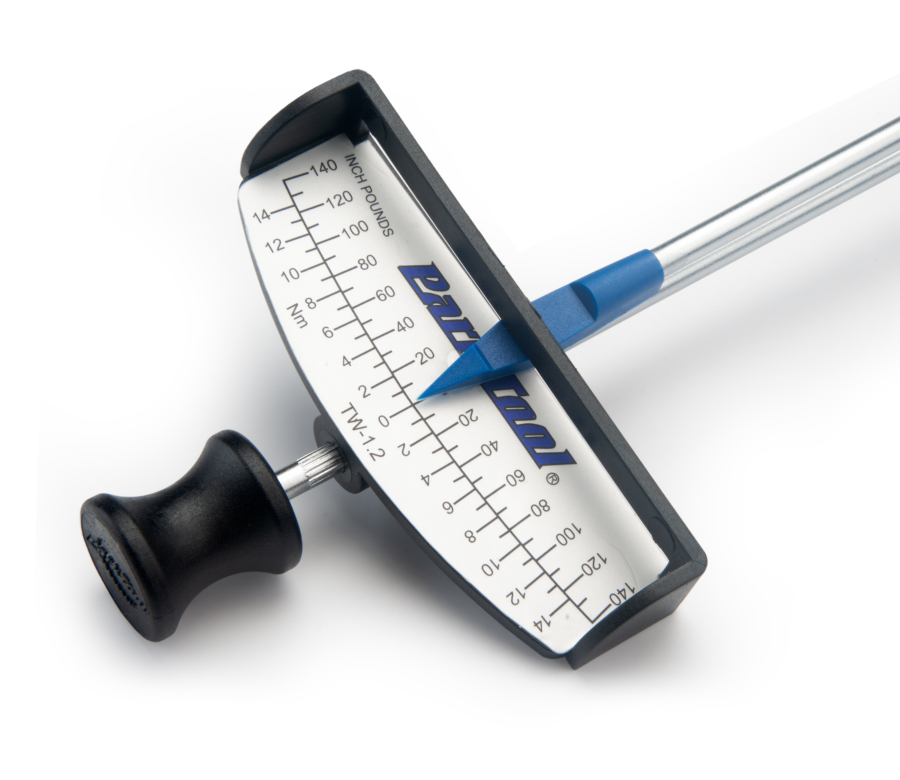 Close-up of the Park Tool TW-1.2 Beam-Type Torque Wrench gauge face, enlarged