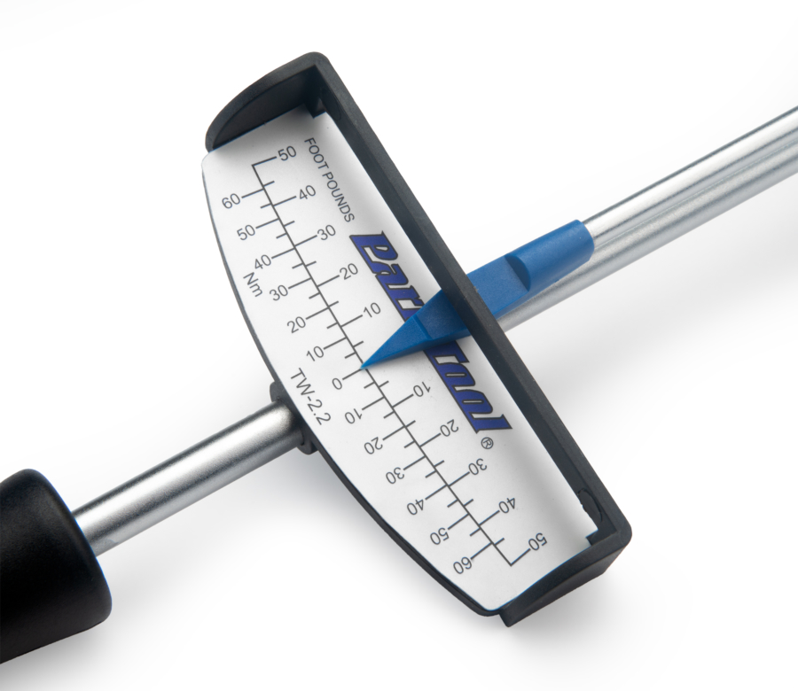 Close-up of the Park Tool TW-2.2 Beam-Type Torque Wrench gauge face, enlarged