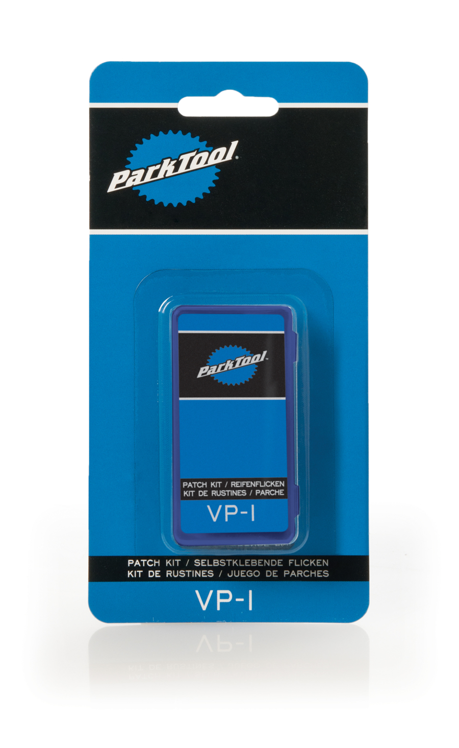 The Park Tool VP-1 Vulcanizing Patch Kit in package, enlarged