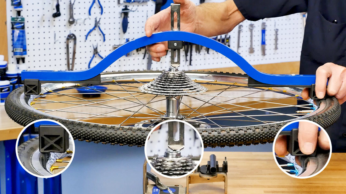 WAG-4 dishing tool measuring the dish of a rear bicycle wheel