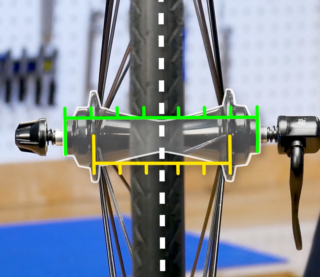 The hub flanges of this front wheel are evenly spaced from the hub contact points