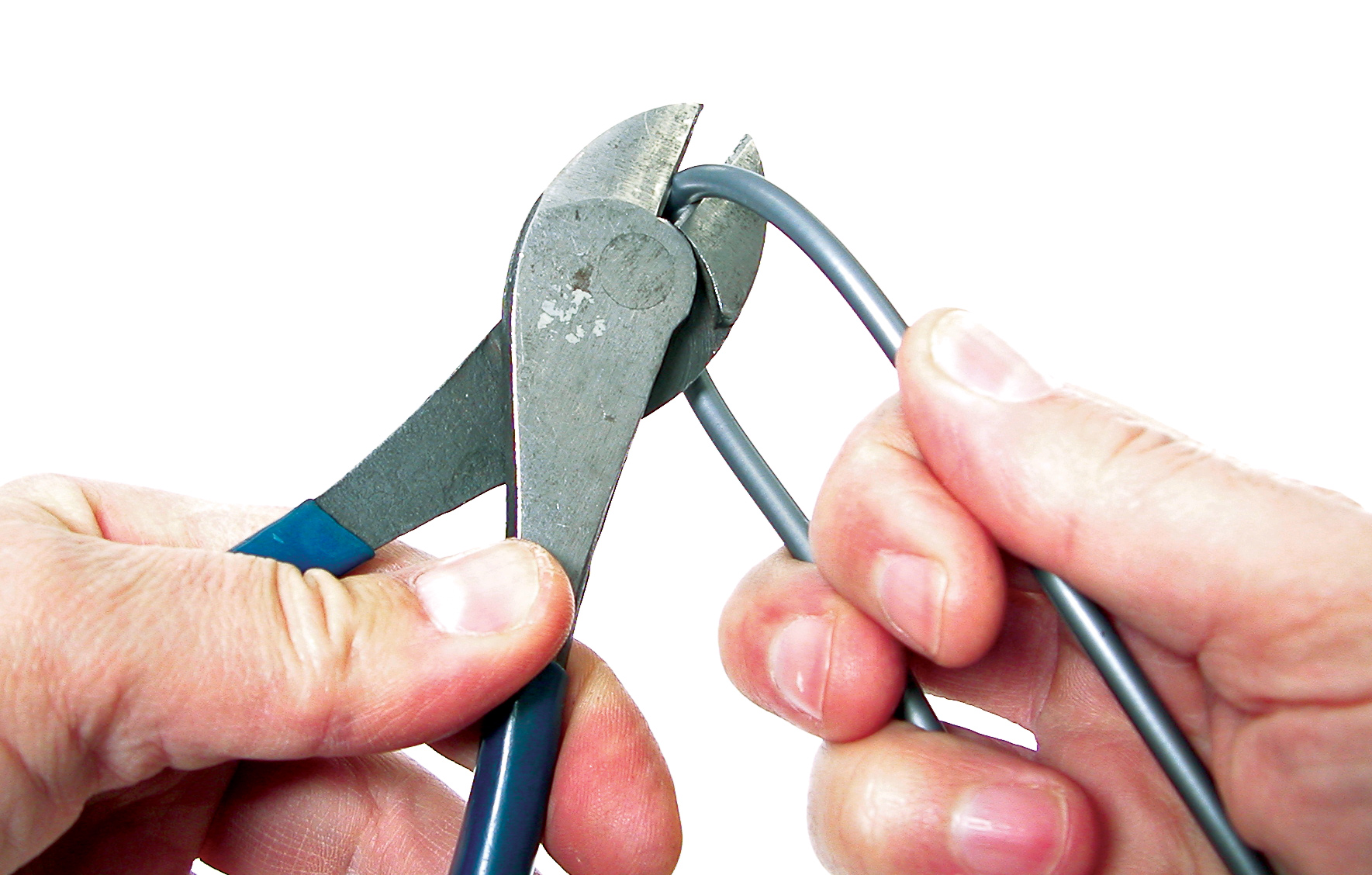 Hold housing close to cutter to keep it square