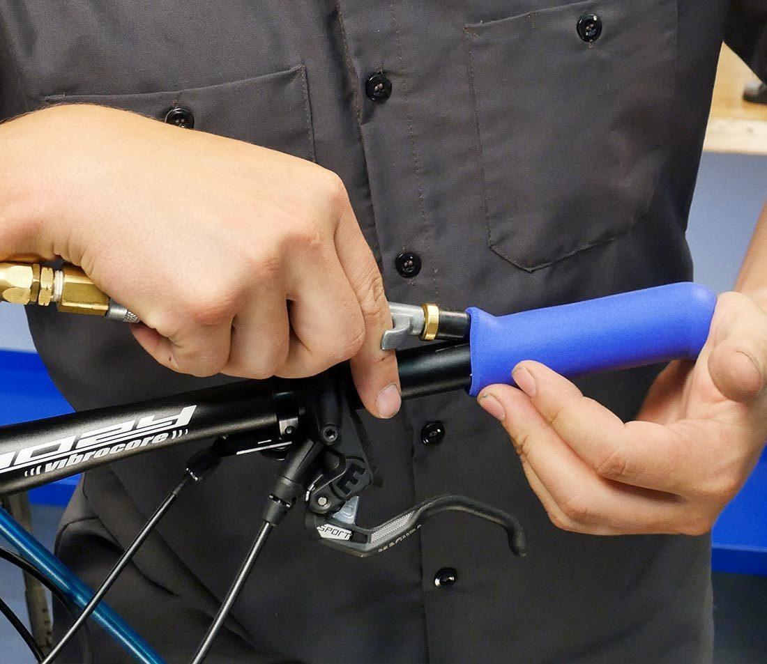 Create an air gap with an air compressor attachment