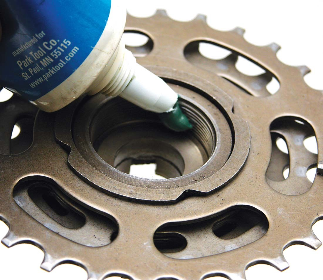 Grease is one thread prep option when installing a freewheel